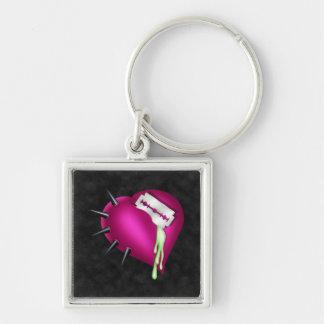 Retro Fun Zombie Pink Heart Silver-Colored Square Keychain