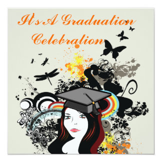 Retro Funk Butterfly & Dragonfly Girl Graduation Card