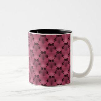Retro Funk Circles Mug, Deep Pink Two-Tone Coffee Mug