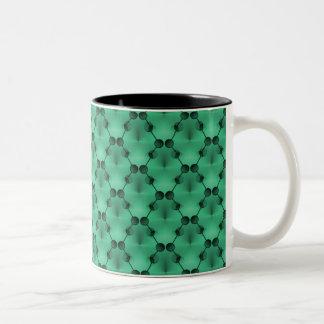 Retro Funk Circles Mug, Mint Green Two-Tone Coffee Mug