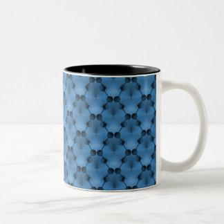 Retro Funk Circles Mug, Vibrant Blue Two-Tone Coffee Mug