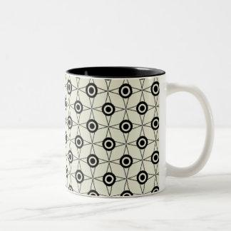 Retro Funk Geometric Mug, Black and Ivory Two-Tone Coffee Mug