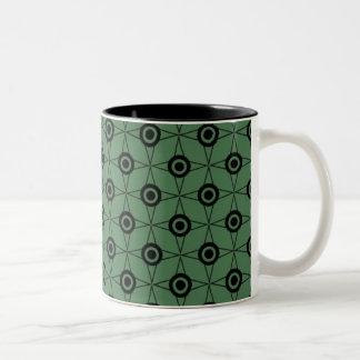 Retro Funk Geometric Mug, Clover Green Two-Tone Coffee Mug