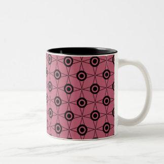 Retro Funk Geometric Mug, Pink Two-Tone Coffee Mug