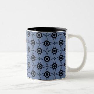Retro Funk Geometric Mug, Soft Blue Two-Tone Coffee Mug