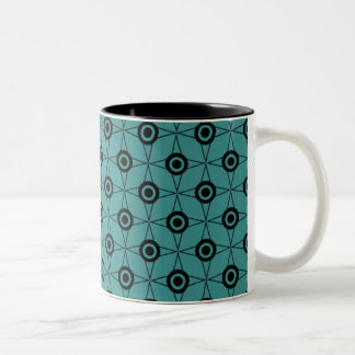 Retro Funk Geometric Mug, Teal Two-Tone Coffee Mug