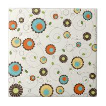 Retro Funky 70s Pattern Ceramic Tile