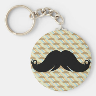 Retro Funky Black Handlebar Mustache Moustache Key Chains