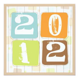 "Retro Funky Block New Years Eve Party Invitation 5.25"" Square Invitation Card"