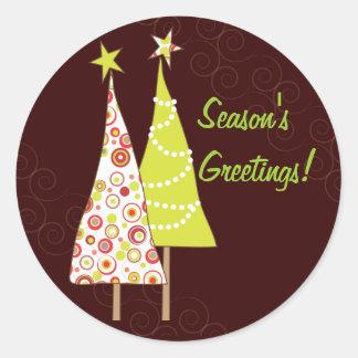 Retro Funky Christmas Trees Round Envelope Seal Sticker