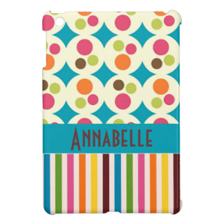 retro funky dots and stripes pattern personalize iPad mini covers