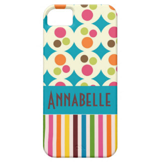 retro funky dots and stripes pattern personalize iPhone SE/5/5s case