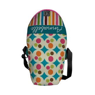 retro funky dots and stripes pattern personalize commuter bags