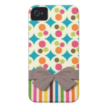 retro funky dots and stripes pattern with faux bow iPhone 4 covers