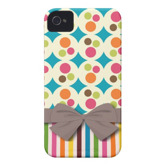 retro funky dots and stripes pattern with faux bow iPhone 4 case