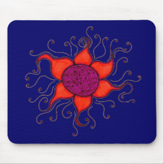 RETRO FUNKY FLOWER MOUSE PAD