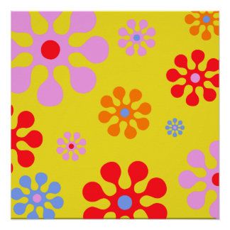 Retro Funky Flower Pattern Yellow  Abstract Poster