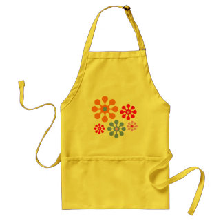Retro Funky Flower Pattern Yellow Kitchen Apron