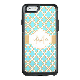 Retro Funky Gold Cyan Quatrefoil Moroccan Monogram OtterBox iPhone 6/6s Case