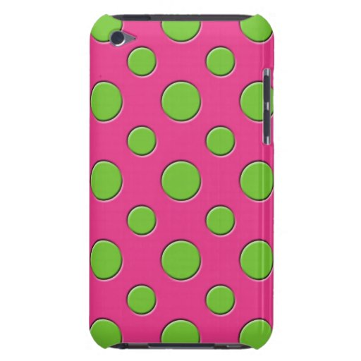 Retro Funky Green Polka Dots Pink Background iPod Touch Cover