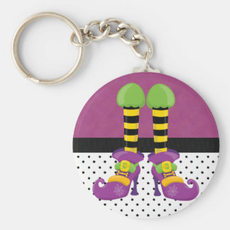 Retro Funky Halloween Witch Shoes Basic Round Button Keychain