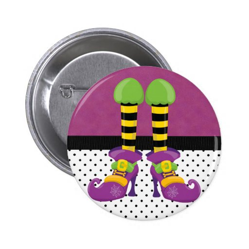 Retro Funky Halloween Witch Shoes Pinback Button