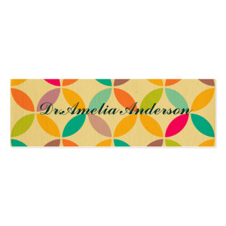 Retro funky multi 70's color pattern hipster chic business card template