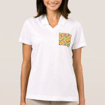 Retro funky multi 70's color pattern hipster chic polo shirt