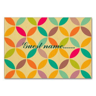 Retro funky multi 70's color pattern hipster chic table cards