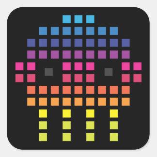 Retro Funky Pixel Skull Square Sticker