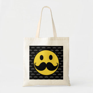 Retro Funky Smiley Mustache Moustache Budget Tote Bag