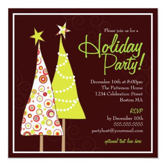 Retro Funky Tree Holiday Party Invitation