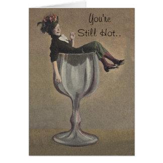 Retro Funny Birthday Card Lady Wine Glass Custom