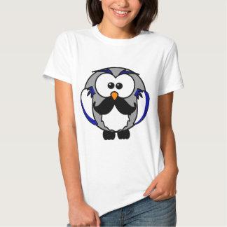 Retro Funny Black Handlebar Mustache Owl Shirts