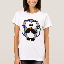Women's Basic T-Shirt with Cartoon Owls with Mustaches design
