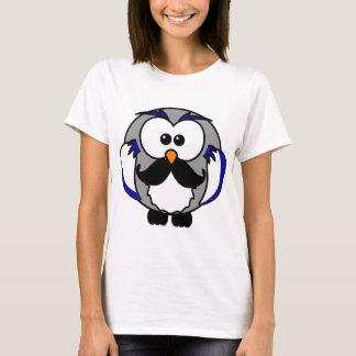 Retro Funny Black Handlebar Mustache Owl T-Shirt