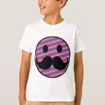 Retro Funny Black Handlebar Mustache Smiley Face T-Shirt