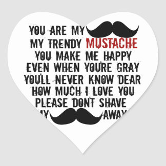 Retro Funny Black Handlebar Mustache Song Stickers