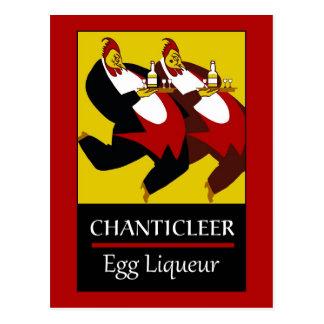 Retro funny chickens egg liqueur ad postcard