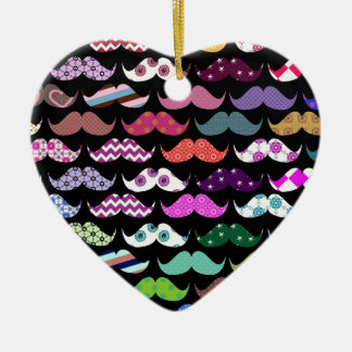 Retro Funny Girly Mustache Moustache Pattern Double-Sided Heart Ceramic Christmas Ornament