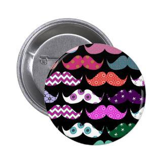 Retro Funny Girly Mustache Moustache Pattern Pinback Button