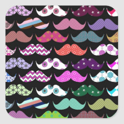 Square Sticker with Mustache Patterns design