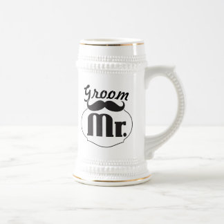 Retro Funny Mr. Mustache Groom Beer Stein