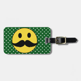 Retro Funny Mustache Moustache Smiley Face Luggage Tag