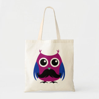 Retro Funny Owl with Handlebar Mustache Budget Tote Bag