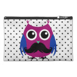 Retro Funny Owl with Handlebar Mustache Travel Accessory Bags