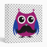 Retro Funny Owl with Handlebar Mustache 3 Ring Binders