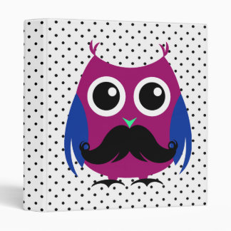Retro Funny Owl with Handlebar Mustache Binder