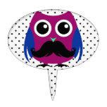 Retro Funny Owl with Handlebar Mustache Cake Picks