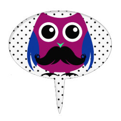 Oval Cake Pick with Cartoon Owls with Mustaches design